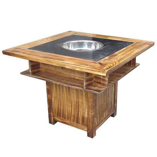 烤漆实木火锅桌,方形电磁炉火锅桌,中式经典款式火锅桌定制