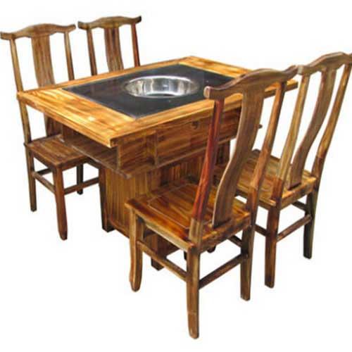 四人位火锅桌,烤漆实木火锅桌椅,电磁炉火锅桌定制