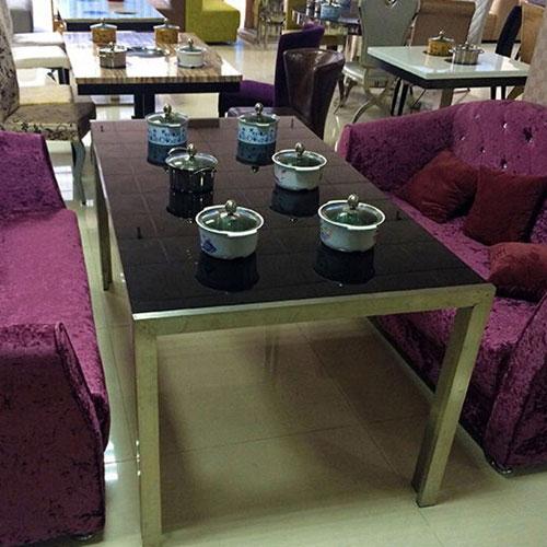 现代餐桌火锅桌椅组合带电磁炉火锅伸缩饭桌钢化玻璃烤漆火锅桌