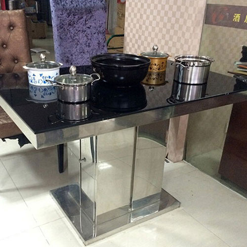 钢化玻璃火锅桌 下沉式电磁炉火锅桌 不锈钢桌角