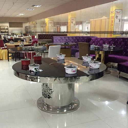 不锈钢火锅桌店餐椅子_火锅店专用圆形火锅桌椅_8人位火锅桌椅