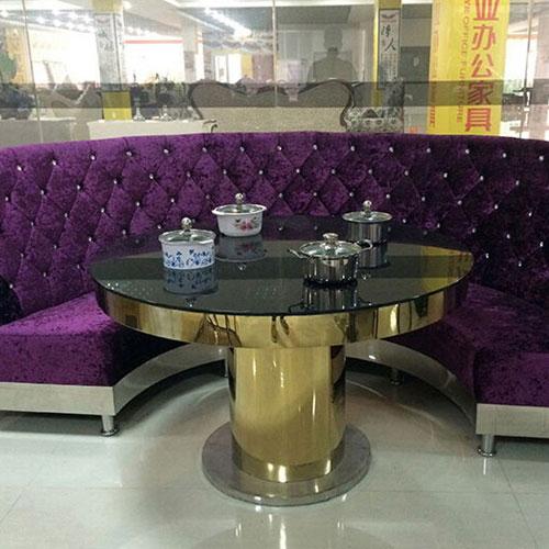 2015新款 内嵌式电磁炉 不锈钢火锅桌 不锈钢转盘餐桌