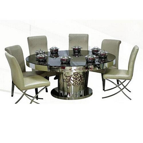 电磁炉火锅桌 带转盘电动餐桌组合小火锅店餐厅大圆桌