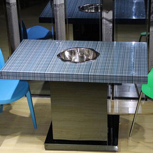 厂家直销 火锅餐桌 不锈钢火锅桌 小户型电磁炉火锅桌