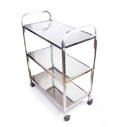 火锅店时尚不锈钢三层菜架,多功能置物架带轮架,银色新款升级加粗金属蔬菜架