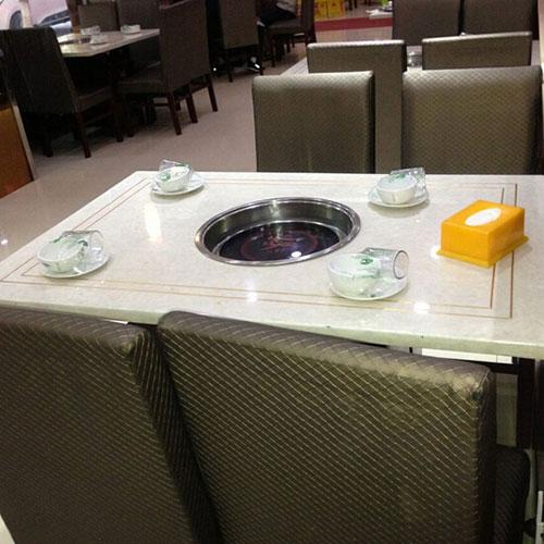 四人火锅桌,经典火锅桌,电磁炉火锅桌