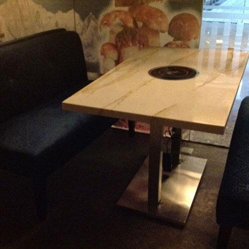 厂家直销 电磁炉大理石火锅桌 实木煤气灶无烟火锅桌尺寸定做