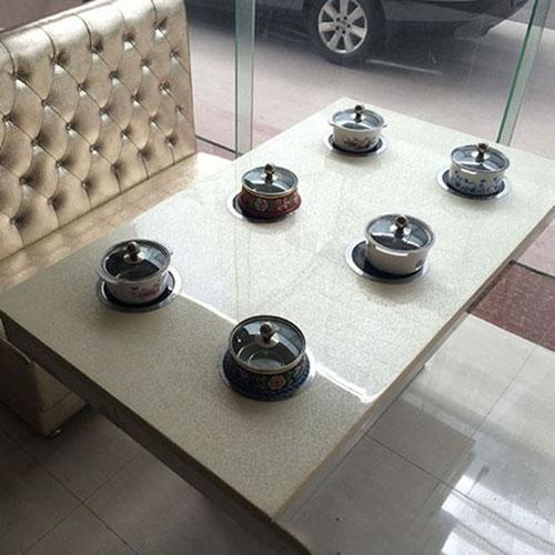 火锅桌厂家直销 电磁炉火锅桌 大理石火锅桌尺寸定做 量大从优