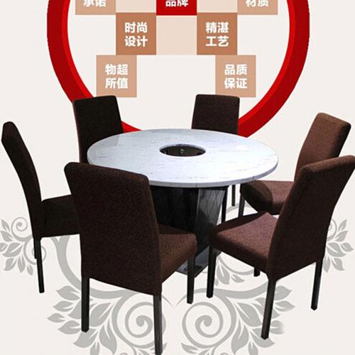 圆形大理石火锅桌6人位8人位圆形火锅桌椅厂家定做