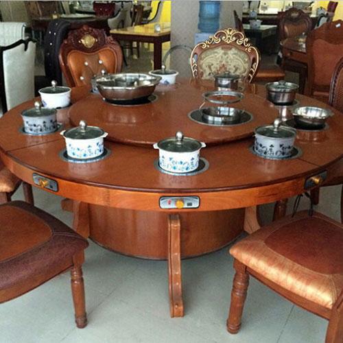 圆形火锅桌,实木火锅桌,电磁炉火锅桌