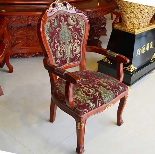 刘一手火锅店实木布艺靠背西餐椅简约欧式餐厅会所单人椅子 时尚宜家特价