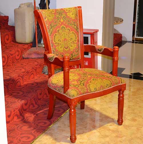 椅木结构实木餐椅休闲椅餐厅椅子时尚靠背椅扶手椅 德庄火锅店椅子