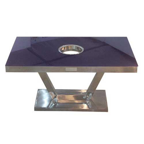 不锈钢火锅桌圆餐桌电磁炉火锅桌子批发桌椅组合火锅桌厂家直销