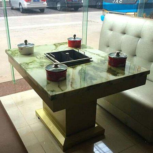 四人位电磁炉火锅桌椅 一人一锅电磁炉专用火锅桌椅 实木桌架电磁炉火锅桌子