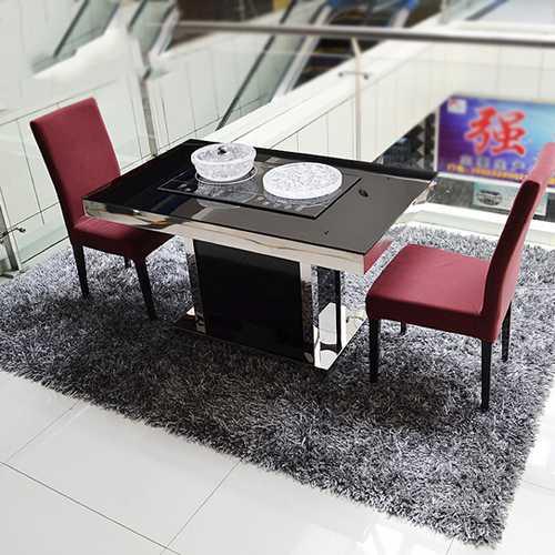 电磁炉不锈钢火锅桌烧烤一体专用桌 不锈钢涮烤一体桌 时尚不锈钢火锅一体桌