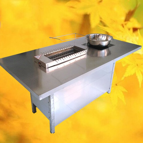 四人位不锈钢火锅烧烤一体桌 火锅餐厅时尚无烟火锅烧烤一体桌 电磁炉火锅桌