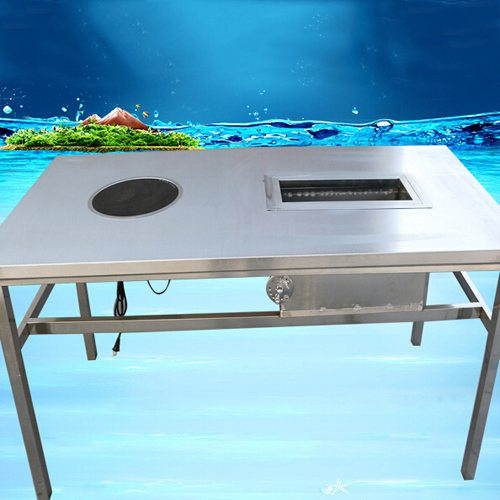 不锈钢火锅烧烤一体桌 韩式不锈钢无烟烤涮一体桌 时尚不锈钢涮烤一体桌