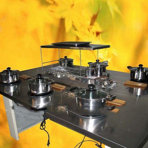 韩式自助不锈钢涮烤一体桌 不锈钢火锅烧烤一体 烤涮一体桌