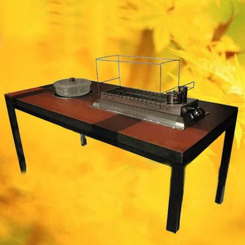 实木火锅烧烤一体桌 实木火锅一体桌 多功能实木烤涮一体桌