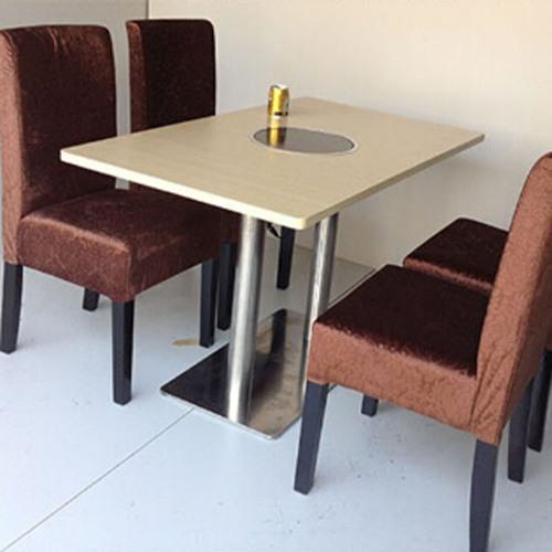 厂家直销 圆形火锅台 电磁炉火锅桌椅 防火板火锅桌