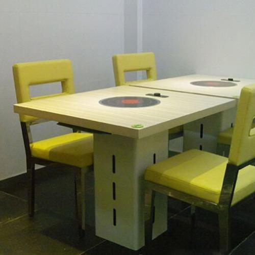 厂家直销 电磁炉火锅桌 圆形多人火锅桌 防火板火锅桌子
