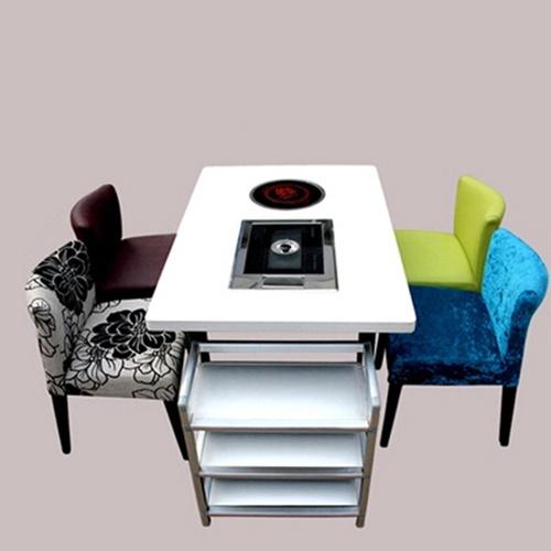 一桌四椅实木椅子燃气灶火锅桌自助烧烤防火板火锅桌