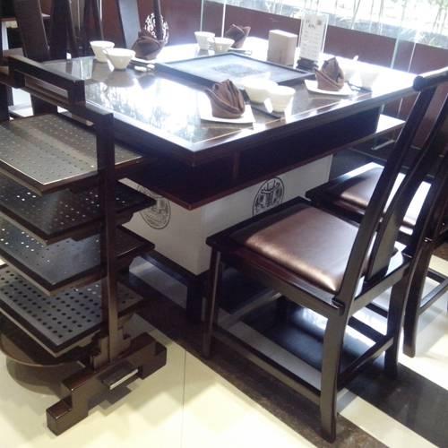 电磁炉火锅桌大理石火锅桌不锈钢脚火锅