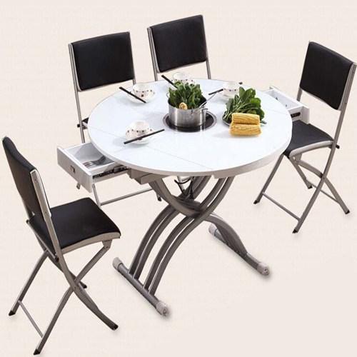 电磁炉功能伸缩圆火锅桌椅组合 钢化玻璃餐台 白色火锅桌