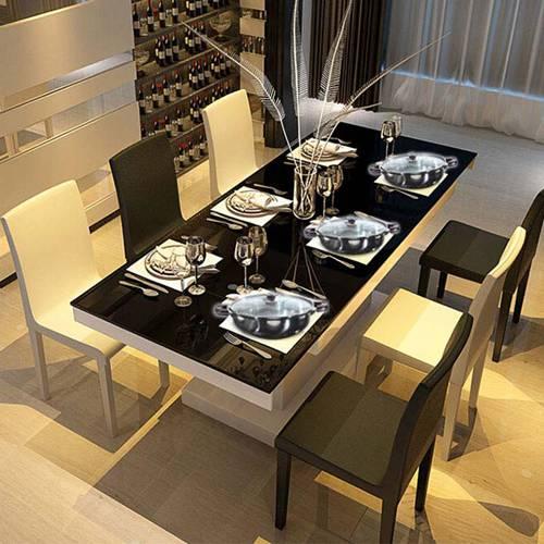 钢化玻璃火锅餐桌 烤漆餐台 配套餐桌椅 现代简约餐桌 特价