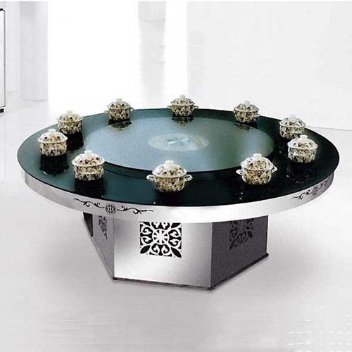 钢化玻璃火锅餐桌 现代简约饭桌烤漆不锈钢桌脚火锅桌