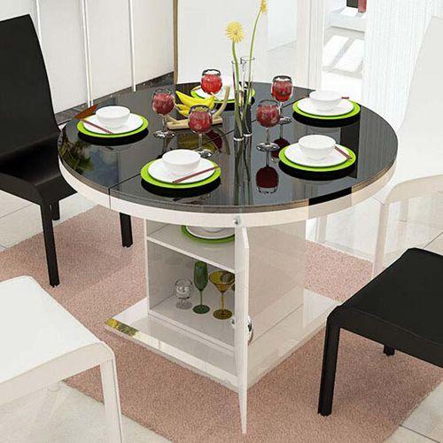 圆形餐桌椅组合伸缩 简约现代烤漆形餐台 钢化玻璃小户型折叠火锅桌