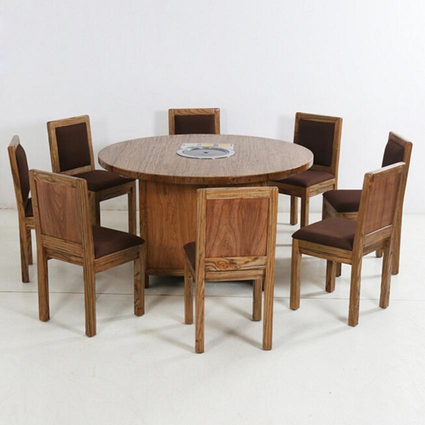 八人火锅桌,圆形火锅桌,电磁炉火锅桌