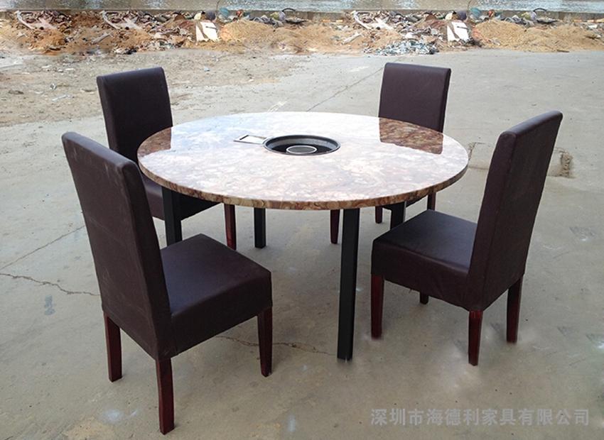 大理石圆形火锅桌