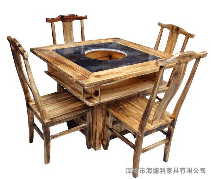 【产品工艺】:     全实木制作,传统木质火锅桌造型,大理石桌面.