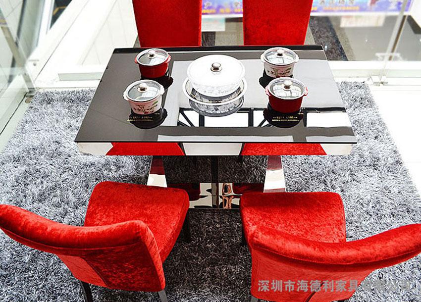 大理石不锈钢火锅桌