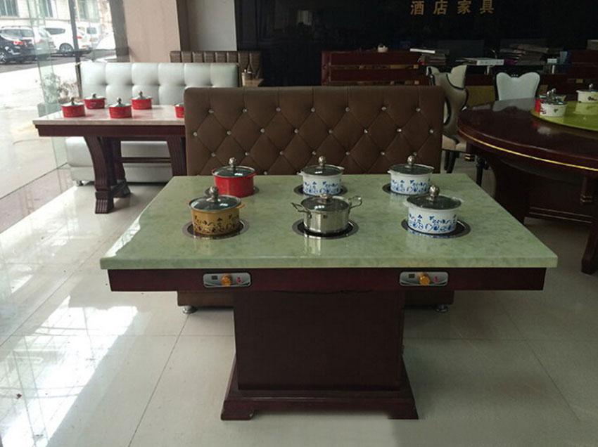 限时 现代中式六人位多功能火锅桌 大理石火锅桌