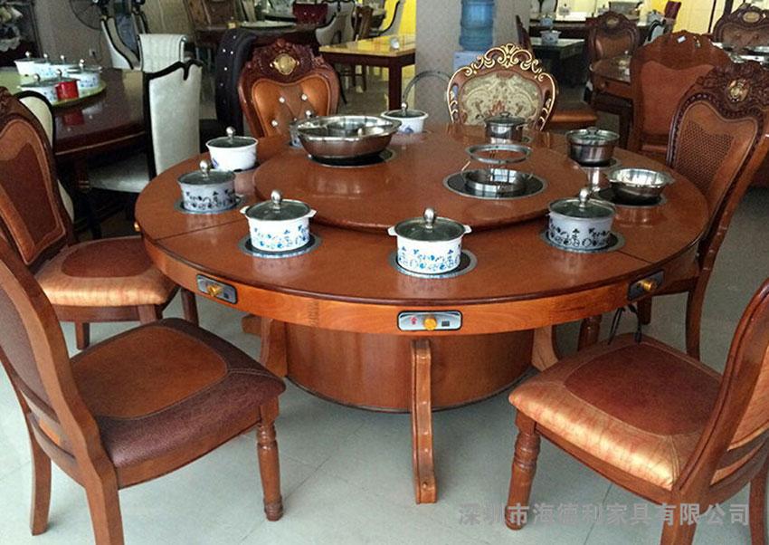 中式水曲柳火锅桌椅