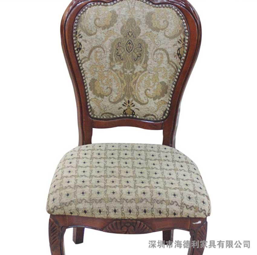 【美式布艺木骨架餐厅椅子