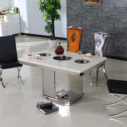 韩式休闲不锈钢一体火锅桌厂家直销 火锅一体桌尺寸定做 不锈钢火锅一体桌价