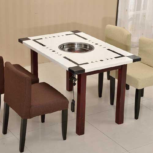 大理石一体桌,火锅烧烤桌定做批发,烤涮一体桌价钱多少
