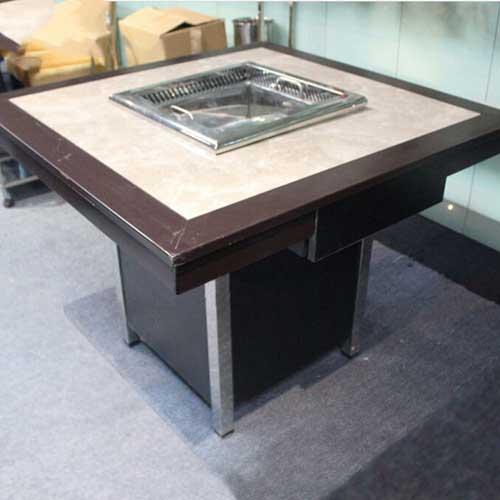 大理石火锅烧烤一体桌定制 厂家直销 一体桌尺寸 大理石火锅一体桌