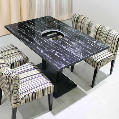 大理石火锅一体桌批发 大理石一体桌尺寸定做 大理石一体桌价格