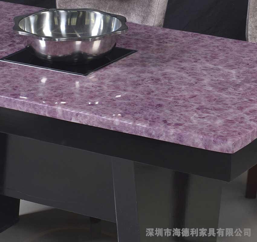 韩式和欧式的混合制成的大理石火锅桌一体桌