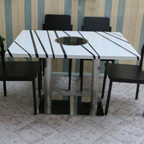 大理石桌面火锅桌子 不锈钢桌脚火锅店专用桌子 韩式简约风格火锅桌