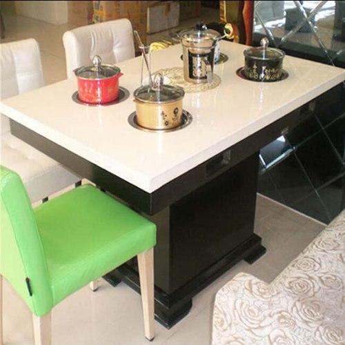 四人位大理石火锅桌椅,电磁炉下沉式火锅桌子,火锅店家具多少钱