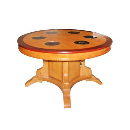 全松木中式火锅圆桌图片价格 火锅桌子尺寸定做 量大从优