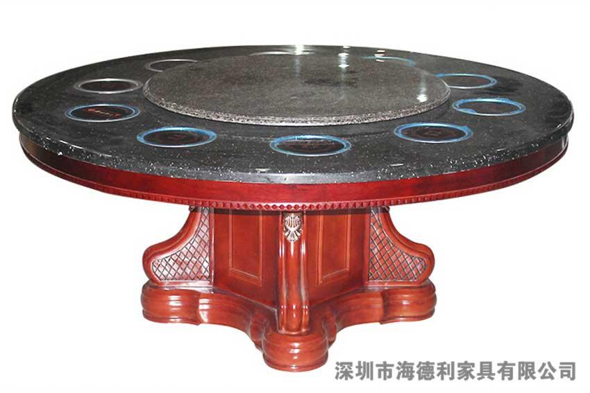 古典中式圆形玻璃火锅桌 多人位嵌入式电磁炉火锅桌子