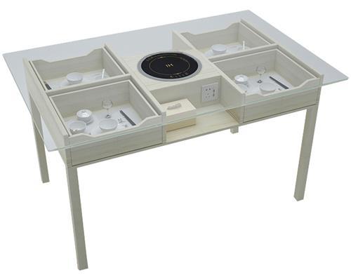 创意韩式玻璃火锅桌
