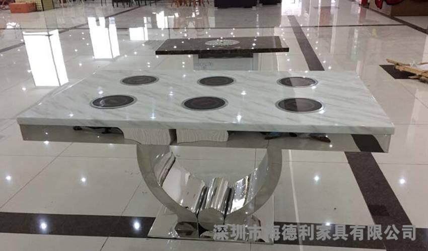 韩式大理石六人位火锅桌