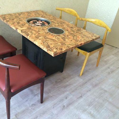 创意大理石火锅一体桌款式价格 火锅一体桌厂家 大理石火锅一体桌尺寸价